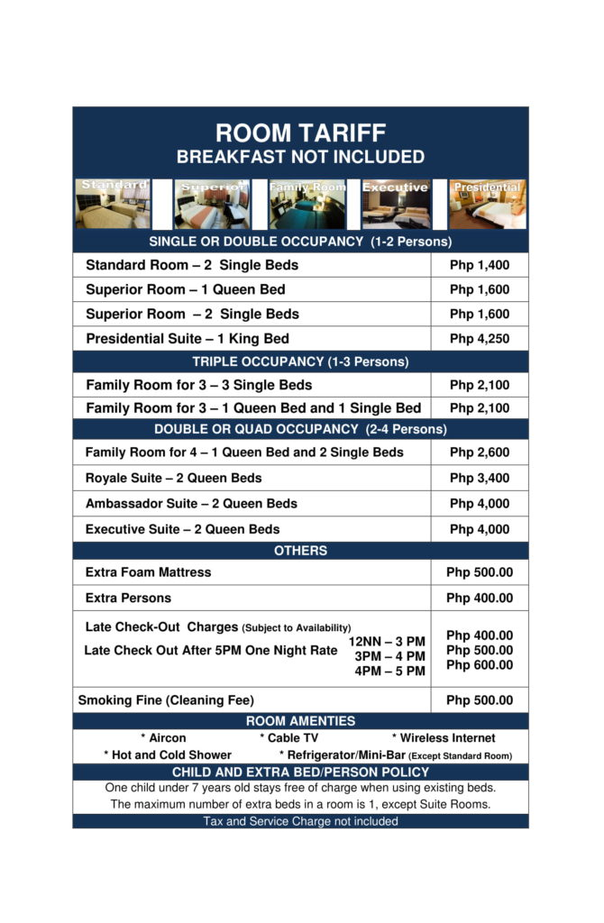 Rates - Bacolod Goldenfield Kundutel Hotel